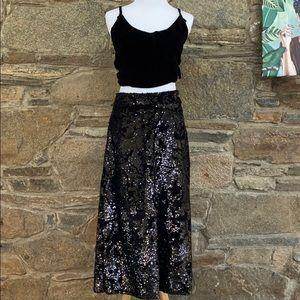 Anthro JUST FEMALE black sequin skirt